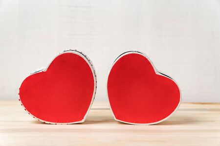 Two red heart shaped box on the white background. Copy space. Valentines day