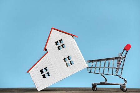 House and shopping cart. Buying home concept. Blue background front view Imagens