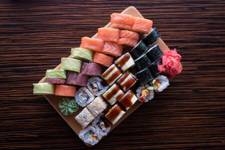 Variety of maki and rolls. Japanese cuisine rolls. Asian food. Sushi Set.