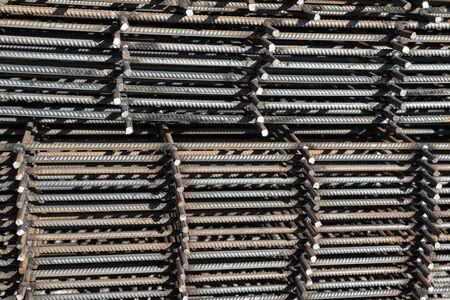 Steel reinforcement bar for industrial building. Reinforcing iron. Closeup of rebars