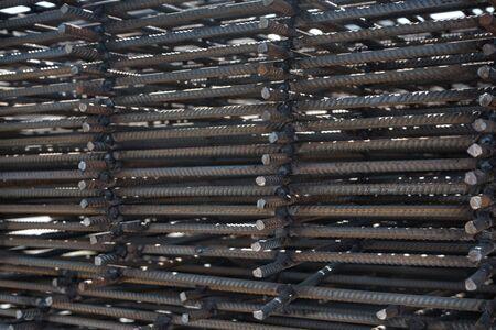 Steel reinforcement bar for industrial building. Metal parts for reinforcements