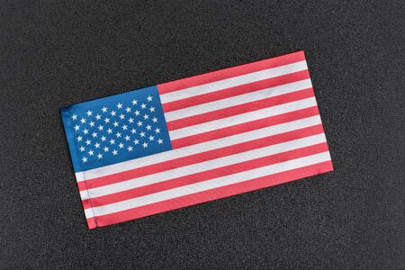 USA flag on black background. Flag of the United States of America Фото со стока