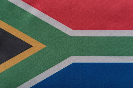 RSA flag close up. National flag of Republic of South Africa. 스톡 콘텐츠