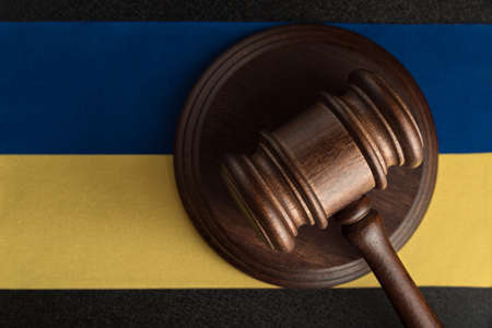Judge Gavel and flag of Ukraine. Justice and law in Ukraine. Supreme court Imagens
