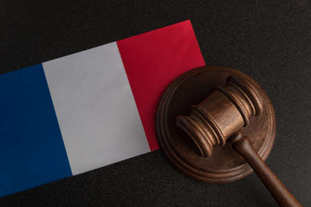 Justice mallet and France flag. Constitutional law. French legislation.