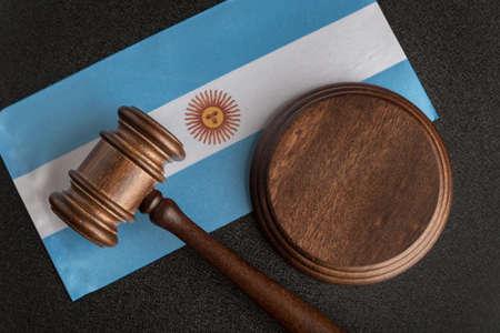 Lawyers wooden gavel on Argentine flag background. Court in Argentina. Argentina international pair 版權商用圖片