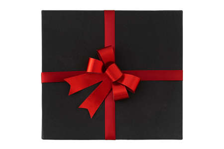 Black box with red bow on white background top view. Gift box