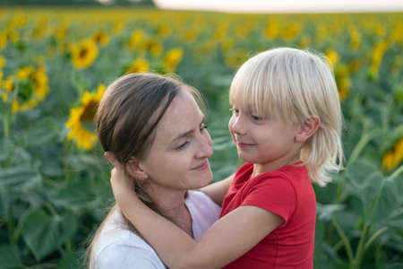 Cute blond boy hugs his mom. Love and trust. Blooming sunflowers field on background.