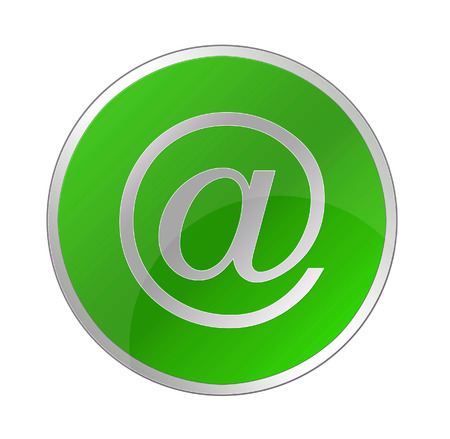 Email icon on glossy blue round button photo