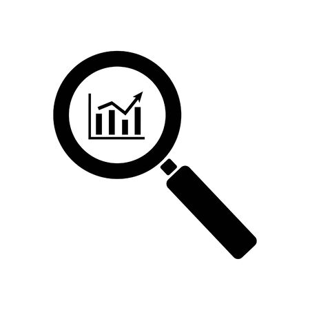 Growing chart through magnifying glass icon