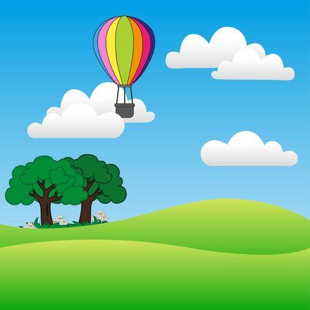 balloon on field vector 向量圖像