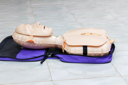 Demonstration of CPR from model Stock Photo