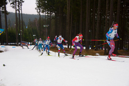 Nove Mesto in Moravia, Czech Republic - December 18, 2016: Biathlon 15 km mass start men.