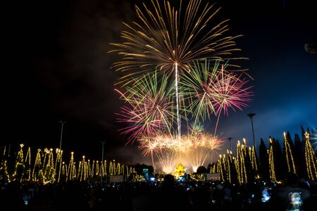 attended: CHIANG MAI, THAILAND -  January 1, 2016 - The firework display at Royal Park Rajapruek. Chiangmai Province Tens of thousands of visitors attended the event. New Years Eve Happy New Year 2016 Editorial