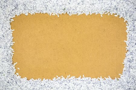 perforation: fragment paper from perforation placed on cardboard Stock Photo