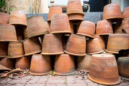 group of old terracotta pot Stock Photo