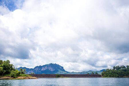environment of mountains and river natural attractions in Ratchaprapha Dam at Khao Sok National Park, Surat Thani Province, Thailand. Stock Photo