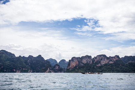 surat: environment of mountains and river natural attractions in Ratchaprapha Dam at Khao Sok National Park, Surat Thani Province, Thailand. Stock Photo