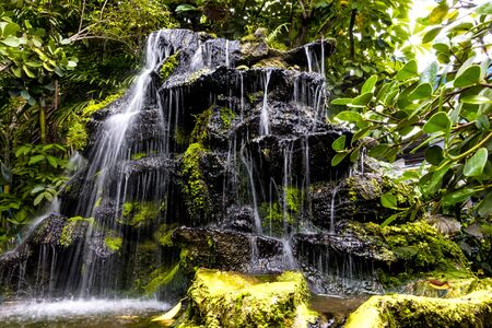 waterfall model: decorating the waterfall model in garden Stock Photo