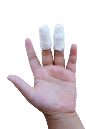 The boy injured middle finger and ring finger. on white background Standard-Bild - 117219877