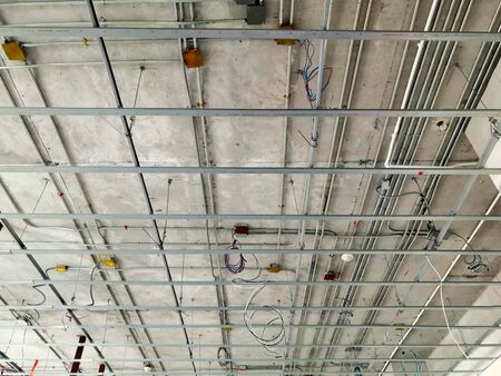 Structure of electrical and cable installation inside the building Stock fotó