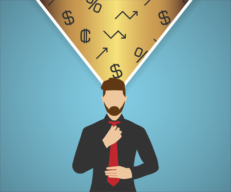 Man in black shirt with red tie and his finance thoughts on background Illustration