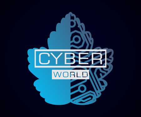 Cyber world sign with leaf and microchip