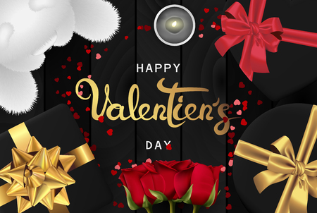 Happy valentines day banner. Background design of lighting candle,realistic roses with gifts box, ribbon, teddy bear. Black style. Flat lay, top view. Valentines day poster, greeting cards, headers, website