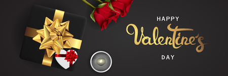 Happy valentines day banner. Background design of lighting candle,realistic roses with gifts box, ribbon. Black style. Flat lay, top view. Horizontal valentines day poster, greeting cards, headers, website