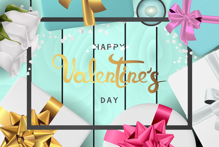 Happy valentines day banner. Background design of lighting candle,realistic roses with gifts box, ribbon. Blue style. Flat lay, top view. Valentines day poster, greeting cards, headers, website