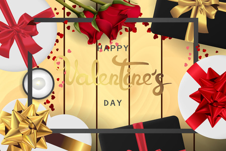 Happy valentines day banner. Background design of lighting candle,realistic roses with gifts box, ribbon. Realistic wood texture. Flat lay, top view. Valentines day poster, greeting cards, headers, website