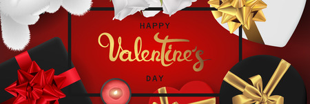 Happy valentines day banner. Background design of lighting candle,realistic roses with gifts box, ribbon, teddy bear. Red style. Flat lay, top view. Horizontal valentines day poster, greeting cards, headers, website