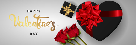 Happy valentines day banner. Background design of realistic roses with gifts box, ribbon. White style. Flat lay, top view. Horizontal valentines day poster, greeting cards, headers, website