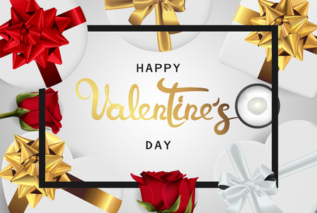 Happy valentines day banner. Background design of lighting candle,realistic roses with gifts box, ribbon. White style. Flat lay, top view. Valentines day poster, greeting cards, headers, website