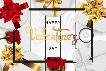 Happy valentines day banner. Background design of lighting candle,realistic roses with gifts box, ribbon. Realistic wood texture. White style. Flat lay, top view. Valentines day poster, greeting cards, headers, website