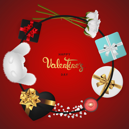 Happy valentines day banner. Background design of lighting candle,realistic roses with gifts box, ribbon. Red style. Flat lay, top view. Valentines day poster, greeting cards, headers, website