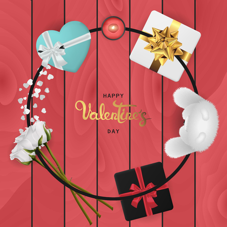 Happy valentines day banner. Background design of lighting candle,realistic roses with gifts box, ribbon. Realistic wood texture. Red style. Flat lay, top view. Valentines day poster, greeting cards, headers, website