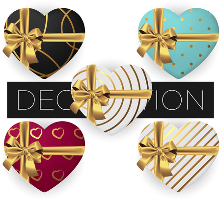 Collection of 5 realistic heart shaped gift box with bow and ribbon with handmade patterns, flat lay top view