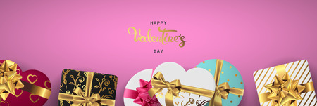 Happy valentines day banner. Background design of lighting candle,realistic roses with gifts box, ribbon. Pink style. Flat lay, top view. Valentines day poster, greeting cards, headers, website