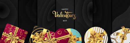 Happy valentines day banner. Background design of lighting candle,realistic roses with gifts box, ribbon. Black style. Flat lay, top view. Valentines day poster, greeting cards, headers, website