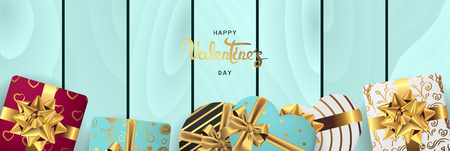 Happy valentines day banner. Background design of lighting candle,realistic roses with gifts box, ribbon. Blue wood style. Flat lay, top view. Valentines day poster, greeting cards, headers, website