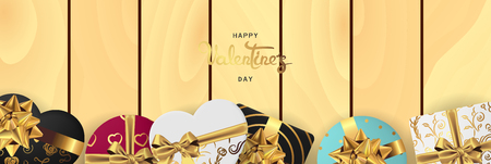 Happy valentines day banner. Background design of lighting candle,realistic roses with gifts box, ribbon. Light wood style. Flat lay, top view. Valentines day poster, greeting cards, headers, website
