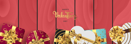 Happy valentines day banner. Background design of lighting candle,realistic roses with gifts box, ribbon. Red wood style. Flat lay, top view. Valentines day poster, greeting cards, headers, website