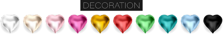 Collection of realistic vector foil helium heart shaped balloons red, gold, yellow, white, pink, black, blue, green for birthday party celebration design isolated on transparent background white