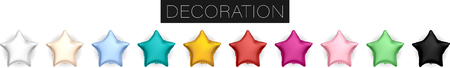 Collection of realistic vector foil helium star shaped balloons red, gold, yellow, white, pink, black, blue, green for birthday party celebration design isolated on transparent background white