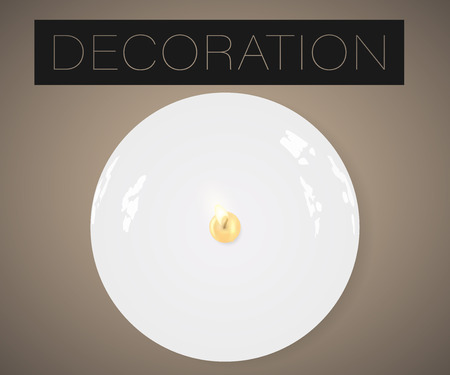 Vector realistic candle on plate with light isolated, flat lay top view