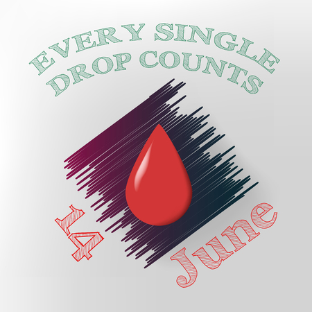 14: Label for 14 June. World blood donor day.