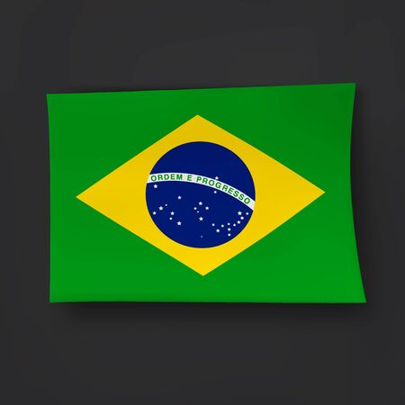 brazilian flag: Brazilian flag on the black background with shadows. Illustration