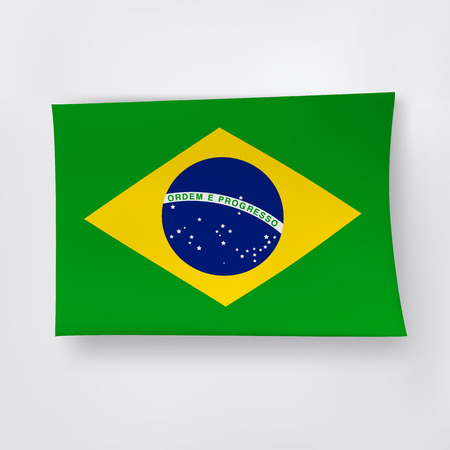 brazilian flag: Brazilian flag on the white background with shadows.