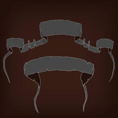 cartooning: Drawing ribbons. Set of two cartooning ribbons.